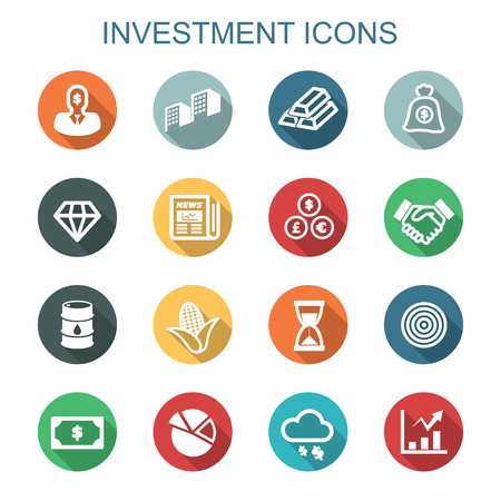 investment long shadow icons, flat vector symbols