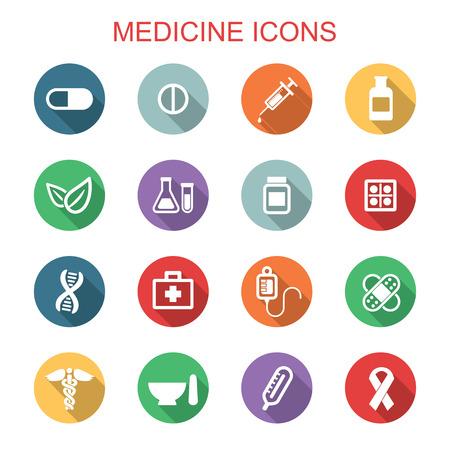 medicate: medicine long shadow icons, flat vector symbols