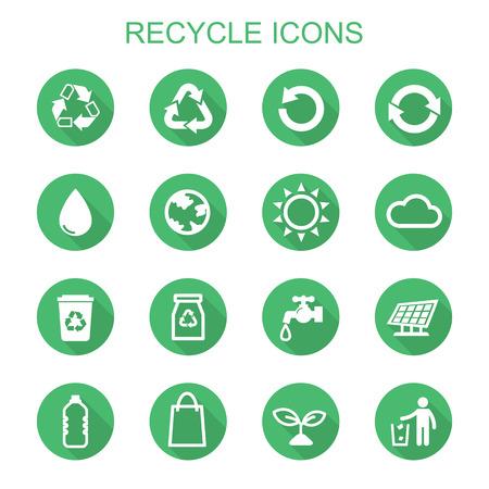 logo recyclage: icônes de longue ombre recyclage, symboles vectoriels plats Illustration