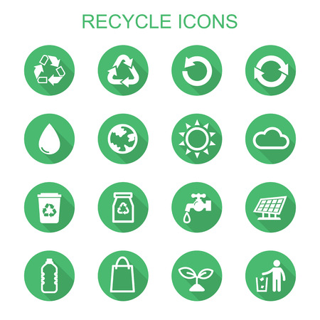 leaf water drop: recycle long shadow icons, flat vector symbols