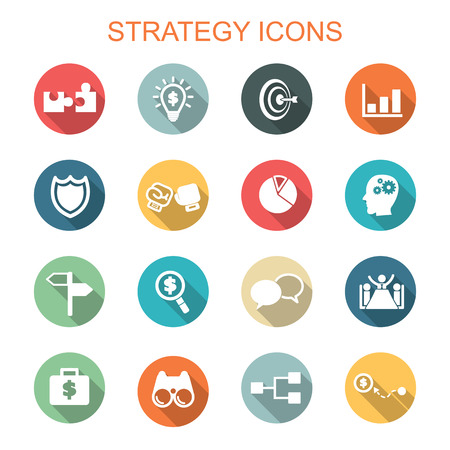 leadership: strategy long shadow icons, flat vector symbols