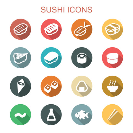 sushi long shadow icons, flat vector symbols Иллюстрация
