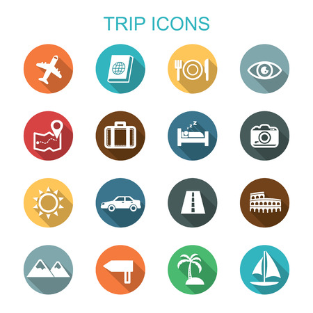 tour guide: trip long shadow icons, flat vector symbols