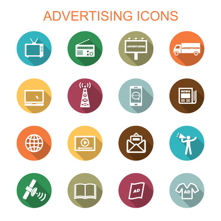internet radio: advertising long shadow icons, flat vector symbols