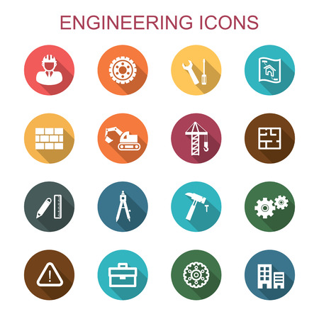 home construction: engineering long shadow icons, flat vector symbols