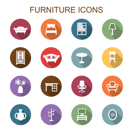 home furniture: furniture long shadow icons, flat vector symbols Illustration