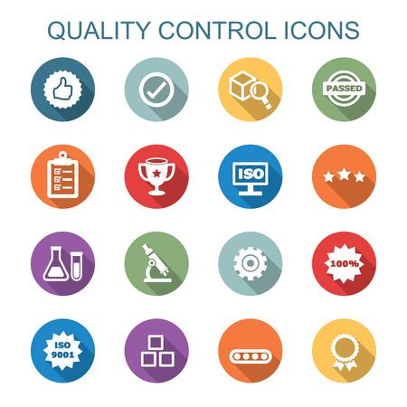 kwaliteitscontrole lange schaduw iconen, platte vectorsymbolen