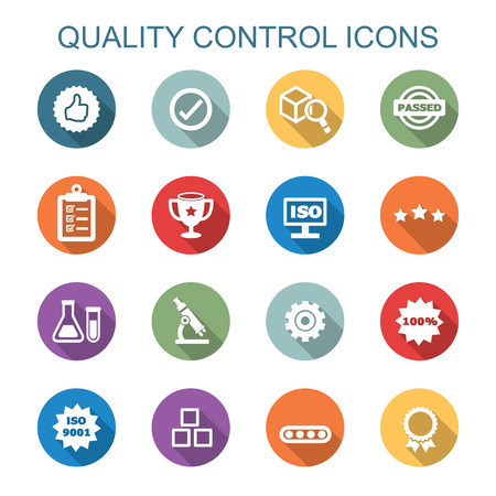 quality service: quality control long shadow icons, flat vector symbols