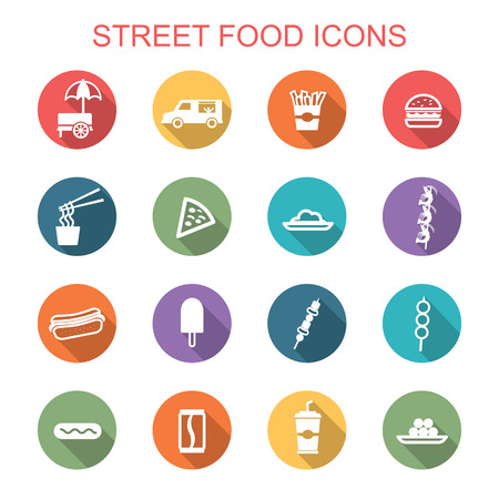 food illustrations: street food long shadow icons, flat vector symbols