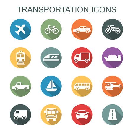 iconos larga sombra transporte, símbolos vectoriales planas