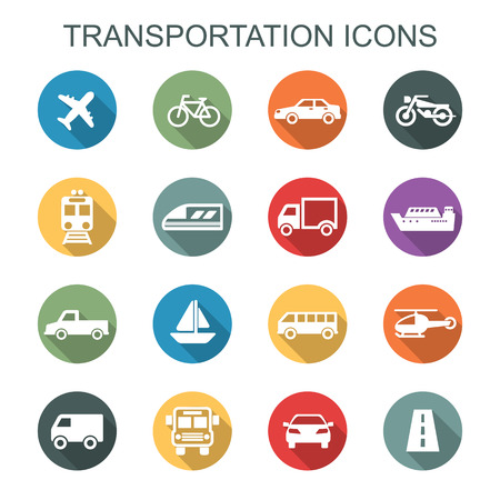 transportation long shadow icons, flat vector symbols