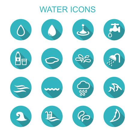 shower: water long shadow icons, flat vector symbols