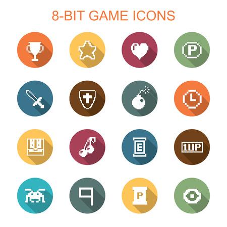 8-bit game long shadow icons, flat vector symbols Vector