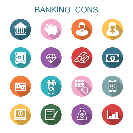 banking long shadow icons, flat vector symbols Vettoriali
