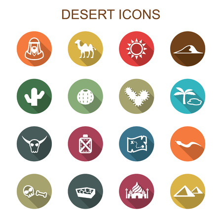 desert long shadow icons, flat vector symbols Vector