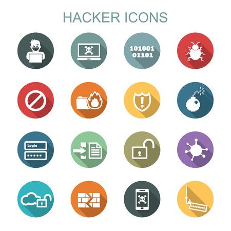 virus informatico: los iconos de sombra de hackers largo, s�mbolos vectoriales planas