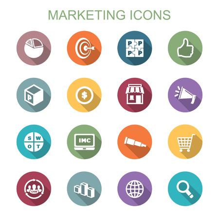 crm: marketing long shadow icons, flat vector symbols