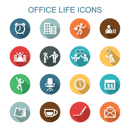 office life long shadow icons, flat vector symbols Иллюстрация