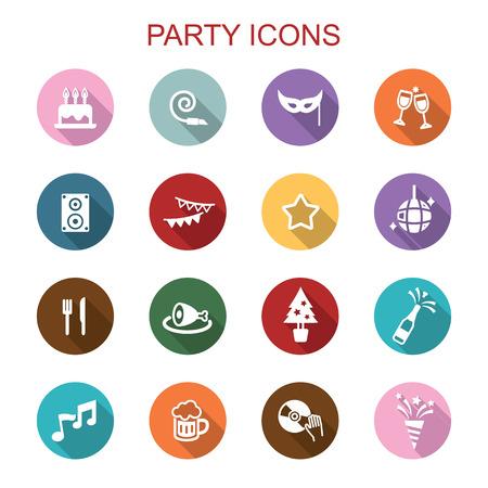 party long shadow icons, flat vector symbols Vector