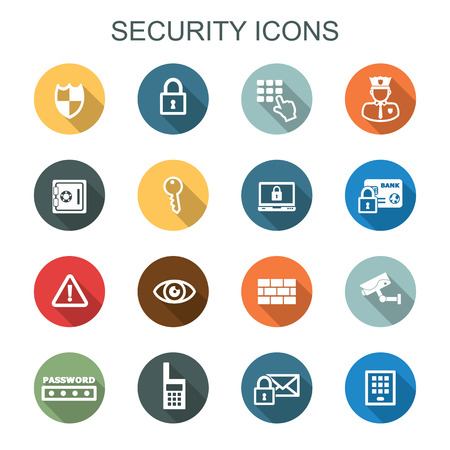 security long shadow icons, flat vector symbols