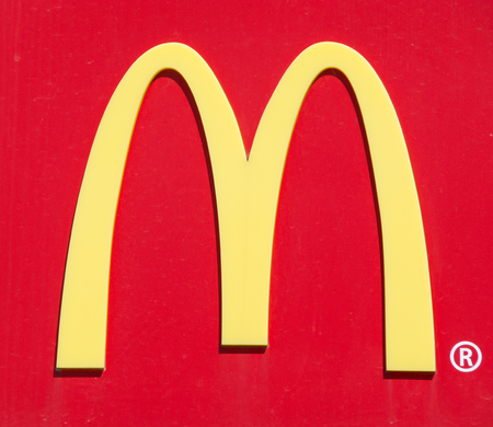 donald: UBON RATCHATHANI, THAILAND - JANUARY 1, 2015: McDonalds logo on red background in Ubon Ratchathani. Editorial