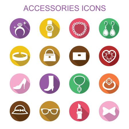 accessories long shadow icons, flat vector symbols Vector