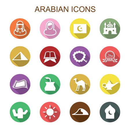 arabian long shadow icons, flat vector symbols