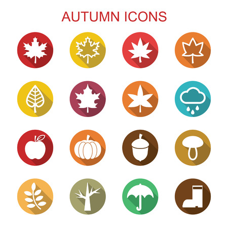 autumn long shadow icons, flat vector symbols Vector