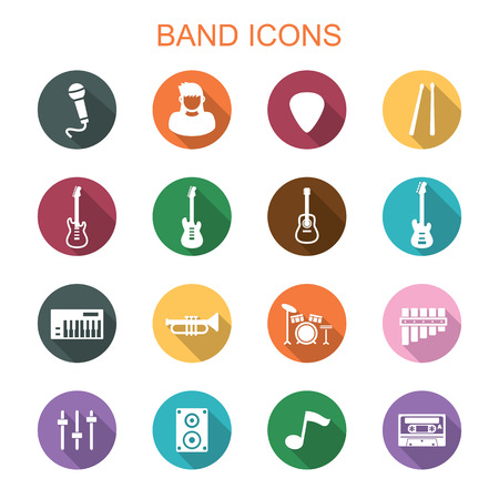 drum sticks: band long shadow icons, flat vector symbols Illustration