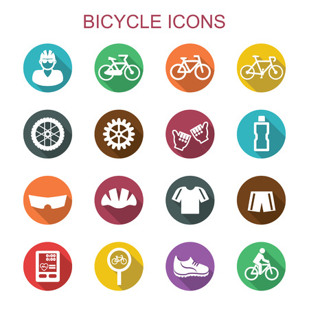 cycle race: bicycle long shadow icons, flat vector symbols Illustration
