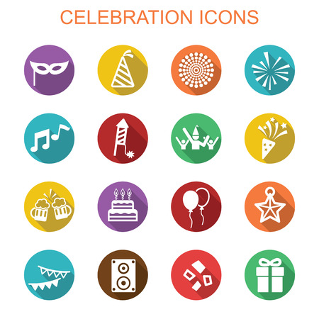 event party: celebration long shadow icons, flat vector symbols