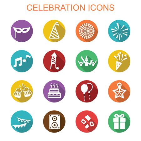 event icon: celebration long shadow icons, flat vector symbols