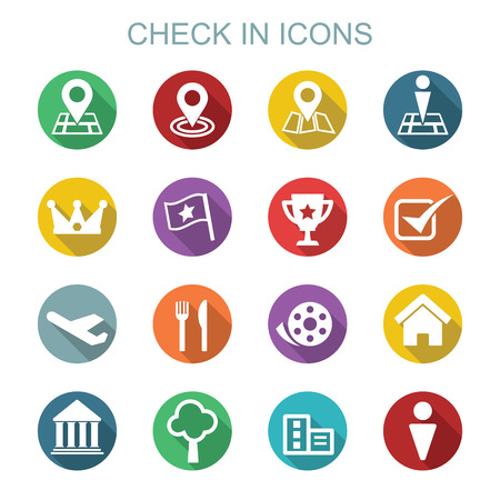 check in: check in long shadow icons, flat vector symbols Illustration