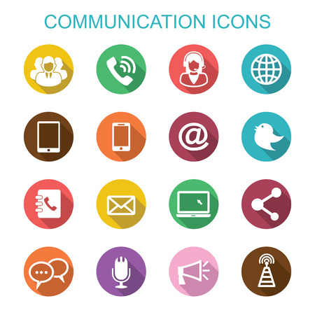 communicatie lange schaduw iconen, platte vectorsymbolen