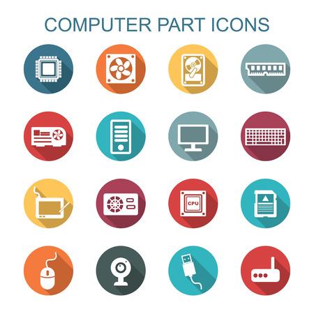 Long Shadow icônes de pièces d'ordinateur, les symboles de vecteur plats