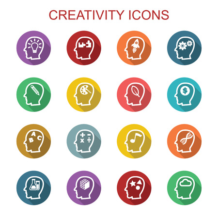 creativity long shadow icons, flat vector symbols Иллюстрация