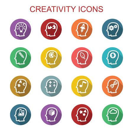 creativity long shadow icons, flat vector symbols Illustration