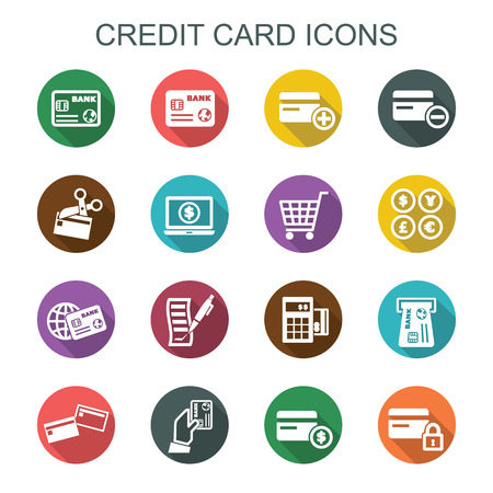credit card payment: credit card long shadow icons, flat vector symbols Illustration