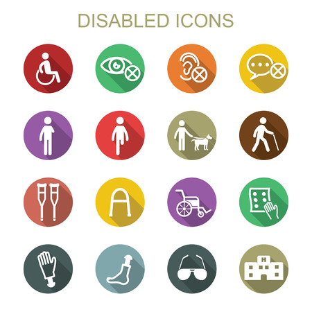 disabled long shadow icons, flat vector symbols Vettoriali