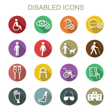 personas discapacitadas: discapacitados sombra iconos largos, símbolos vectoriales planas