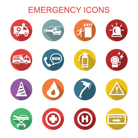 exit emergency sign: emergency long shadow icons, flat vector symbols