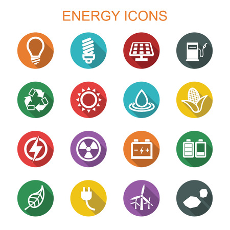 energy long shadow icons, flat vector symbols Иллюстрация