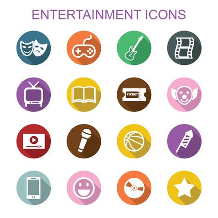 ticket icon: entertainment long shadow icons, flat vector symbols