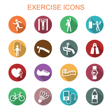 exercise long shadow icons, flat vector symbols