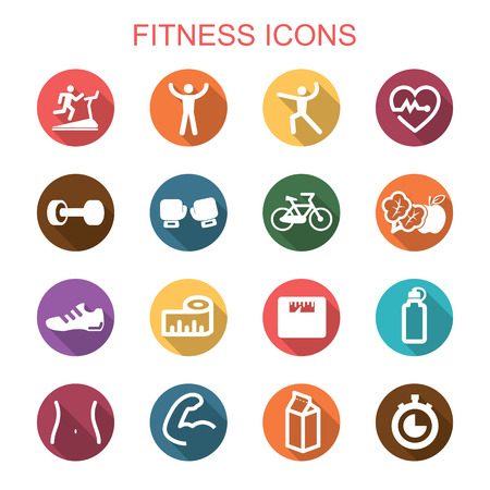 fitness long shadow icons, flat vector symbols Vector