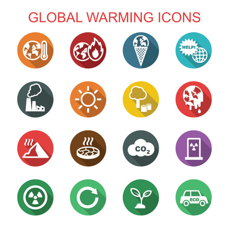 global warming long shadow icons, flat vector symbols