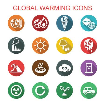 global warming long shadow icons, flat vector symbols