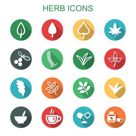 crecimiento planta: iconos hierbas sombra larga, s�mbolos vectoriales planas