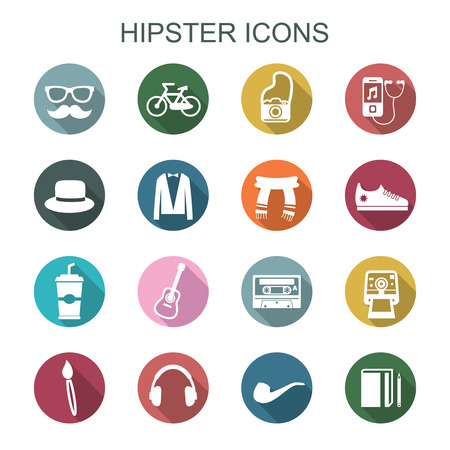 indy: hipster long shadow icons, flat vector symbols Illustration