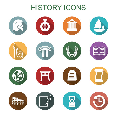 history long shadow icons, flat vector symbols